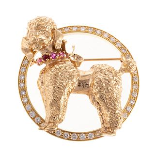 A 14K Yellow Gold Diamond & Ruby Poodle Brooch