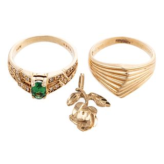 A Gemstone Ring, Ridged Ring & Pendant in 14K