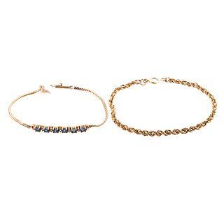 A 14K Sapphire & Diamond Bracelet & 14K Bracelet