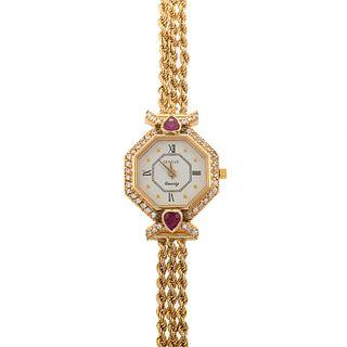 A Ladies 14K Diamond & Ruby Geneve Wrist Watch