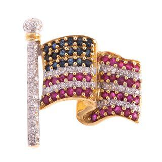 A Diamond, Ruby, Sapphire Patriotic Flag Pin