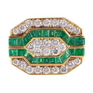 A Bold Diamond & Emerald Ring in 18K