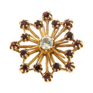 A Prasiolite & Garnet Snowflake Pin in 14K