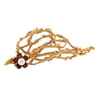 A Pearl & Garnet Tree Branch Brooch in 14K