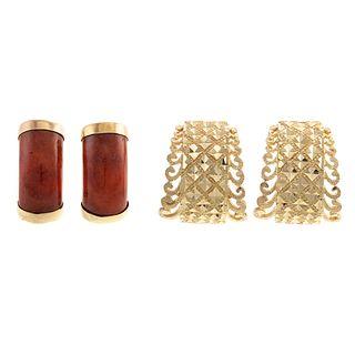 Two Pairs of Half Hoop Earrings in Jade & 14K