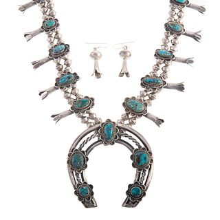 A Navajo Squash Blossom Necklace & Earrings
