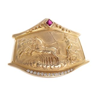 A Ruby & Diamond Athena's Chariot Brooch in 14K
