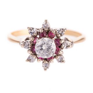 A Diamond Ring with Rubies Set in 14K Yellow Gold