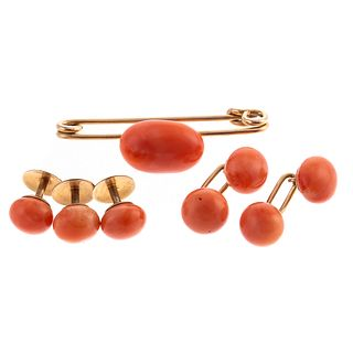A 14K Antique Coral Stud & Cufflinks Set & 14K Pin