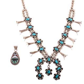 A Navajo Squash Blossom Necklace & Zuni Pendant
