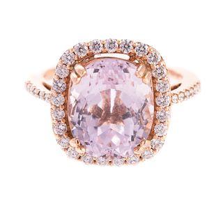 A 14K Rose Gold Kunzite & Diamond Ring