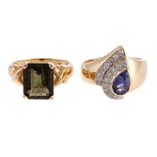A Tanzanite Diamond Ring & 14K Ring