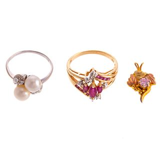 A Pair of Gemstone Rings & Pendant in Gold