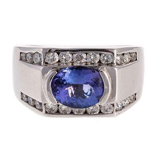 A Very Fine Tanzanite & Diamond Ring in 14K