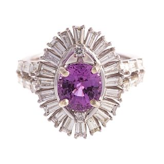 A 2.41 ct Pink Sapphire & Diamond Ring in 14K