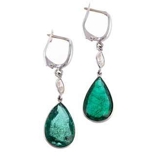 A Pair of Emerald & Diamond Drop Earrings in 14K