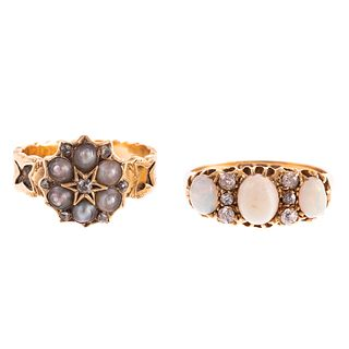 A Victorian Pearl Ring c. 1866 & Opal Ring