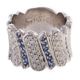 A Wide Pave Diamond & Sapphire Band in 14K