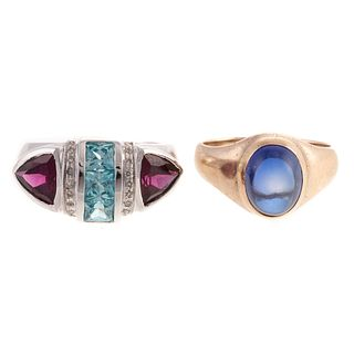 A 14K Gemstone Ring & Cabochon Sapphire Ring