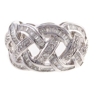 A Woven Design Diamond Ring in 14K