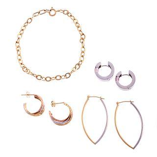 A Collection of Hoop Earrings & Link Bracelet