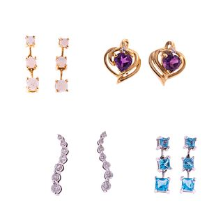 A Collection of 14K Gemstone & Diamond Earrings