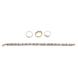 Collection of Platinum & Gold Rings & Bracelet
