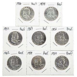 Eight Different Franklin Half Proofs 1951-1963