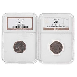 A Pair of Nice NGC Graded Buffalo Nickels