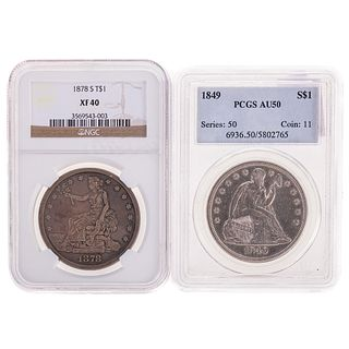 Nice Pair of Dollars 1849 Seated and 1878-S Trade