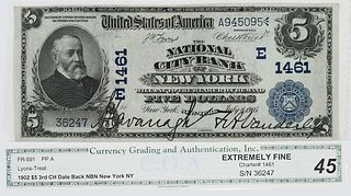 1902 $5 National City Bank New York, NY