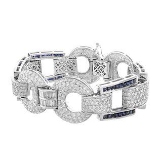 Diamond, Sapphire and 18K Bracelet