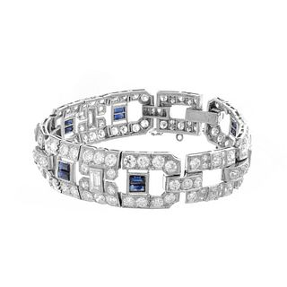 Deco Diamond, Sapphire and Platinum Bracelet