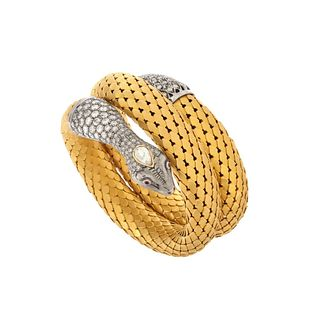 Diamond and 18K Snake Bangle