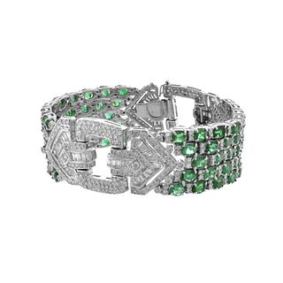 Emerald, Diamond and 18K Bracelet