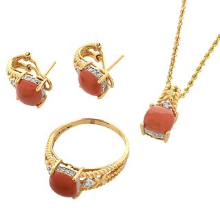 Coral and 14K Jewelry Suite