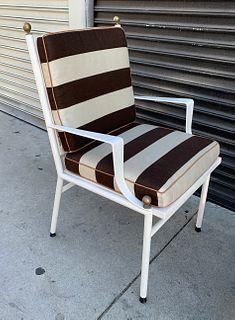 Brass & White Enamel Armchair Made in Spain by Hugonet