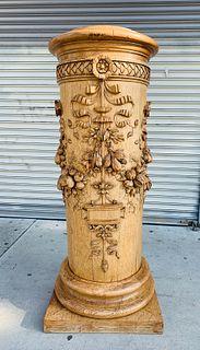 Carved Wood Pedestal by P. MAZAROZ R -France 1800s