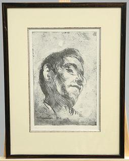 BERNARD LEACH (1887-1979), PORTRAIT OF RYUSEI KISHIDA, 1913