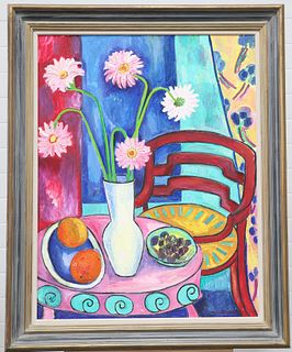 MARY TEMPEST (CONTEMPORARY), GERBRAS WITH RED CHAIR, signed