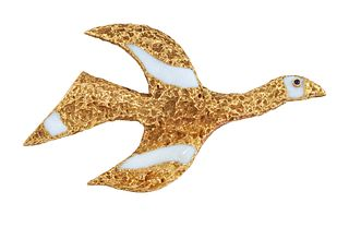 "A 1960s SAPPHIRE AND ENAMEL BIRD BROOCH, ""TITHONOS"", DESIGN"