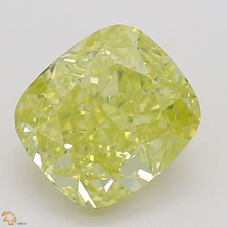 1.02 ct, Natural Fancy Intense Greenish Yellow Even Color, VS2, Cushion cut Diamond (GIA Graded), Unmounted, Appraised Value: $25,800