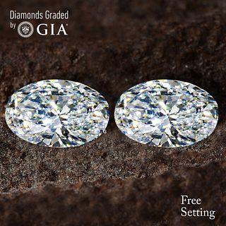 2.02 carat diamond pair Oval cut Diamond GIA Graded 1) 1.01 ct, Color D, VVS2 2) 1.01 ct, Color D, VVS2. Unmounted. Appraised Value: $27,600