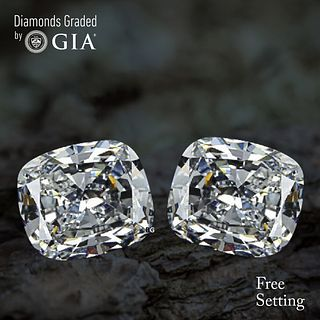 7.04 carat diamond pair Cushion cut Diamond GIA Graded 1) 3.51 ct, Color F, VVS2 2) 3.53 ct, Color F, VS1. Unmounted. Appraised Value: $283,500