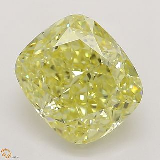 1.50 ct, Natural Fancy Intense Yellow Even Color, VVS2, Cushion cut Diamond (GIA Graded), Unmounted, Appraised Value: $36,300