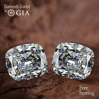9.02 carat diamond pair Cushion cut Diamond GIA Graded 1) 4.52 ct, Color E, VS1 2) 4.50 ct, Color E, VS2. Unmounted. Appraised Value: $586,400