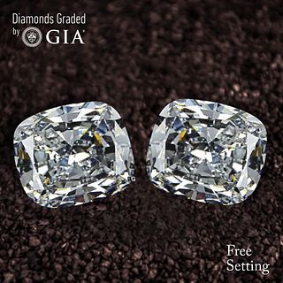 4.01 carat diamond pair Cushion cut Diamond GIA Graded 1) 2.00 ct, Color I, VS2 2) 2.01 ct, Color I, VS2. Unmounted. Appraised Value: $47,000