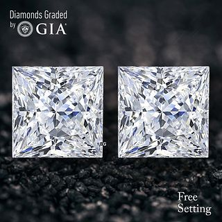 6.03 carat diamond pair Princess cut Diamond GIA Graded 1) 3.01 ct, Color D, VS1 2) 3.02 ct, Color D, VS1. Unmounted. Appraised Value: $279,700