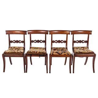 Four American Classical Mahogany Klismos Chairs