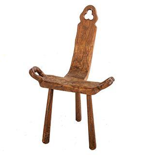 Spanish Carved Wood Corner Chair
